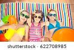 happy children in the swimming... | Shutterstock . vector #622708985