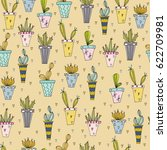 cacti in pots. seamless pattern ... | Shutterstock .eps vector #622709981