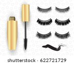realistic golden mascara tube... | Shutterstock .eps vector #622721729