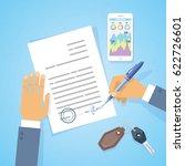 businessman signed a business...   Shutterstock .eps vector #622726601