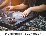 dj with turntables music... | Shutterstock . vector #622738187
