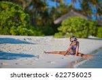 adorable little girl at beach...   Shutterstock . vector #622756025