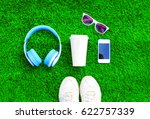 blue headphones  white... | Shutterstock . vector #622757339
