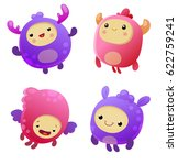 set of cartoon monsters | Shutterstock .eps vector #622759241