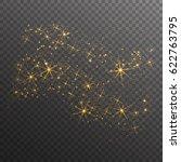 gold glitter sparkles wave... | Shutterstock .eps vector #622763795