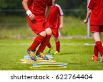 young soccer player practicing... | Shutterstock . vector #622764404