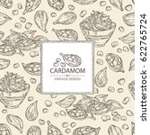 background with cardamom  seeds ...   Shutterstock .eps vector #622765724