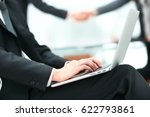 handsome businessman working... | Shutterstock . vector #622793861