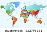 world map countries vector on... | Shutterstock .eps vector #622795181