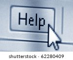 Help button and cursor - stock photo