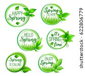 hello spring vector icons set... | Shutterstock .eps vector #622806779