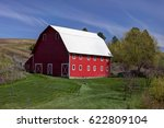 a bright red barn in the... | Shutterstock . vector #622809104