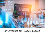double exposure businessman and ... | Shutterstock . vector #622816535