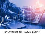 double exposure businessman and ... | Shutterstock . vector #622816544