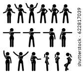 basic woman standing actions... | Shutterstock .eps vector #622817039