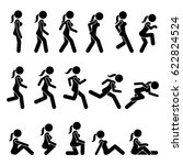 basic woman walk and run... | Shutterstock .eps vector #622824524