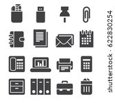 office icons  black edition  | Shutterstock .eps vector #622830254