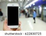 hand holding mockup smartphone... | Shutterstock . vector #622830725