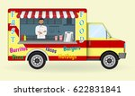 food truck with a cook inside.... | Shutterstock .eps vector #622831841