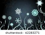 beautiful snow flowers on blue...
