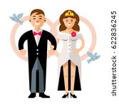 beautiful young bride and groom ... | Shutterstock . vector #622836245