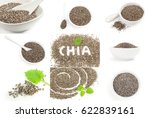 collage of organic dry chia... | Shutterstock . vector #622839161