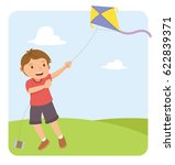 young boy with red shirt flying ... | Shutterstock .eps vector #622839371