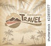 travel logo  pastel round... | Shutterstock .eps vector #622855577