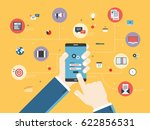 hand holding mobile phone on... | Shutterstock .eps vector #622856531