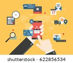 hands holding smartphone and...   Shutterstock .eps vector #622856534