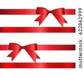 shiny red ribbon. vector...   Shutterstock .eps vector #622862999
