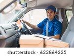 delivery man in truck | Shutterstock . vector #622864325