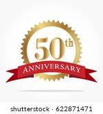 50th golden anniversary logo... | Shutterstock .eps vector #622871471