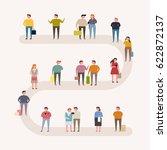 people on street vector... | Shutterstock .eps vector #622872137