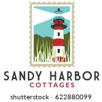 red and white lighthouse on... | Shutterstock .eps vector #622880099