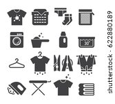 laundry icons  black edition  | Shutterstock .eps vector #622880189
