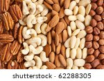 various nuts on background - stock photo