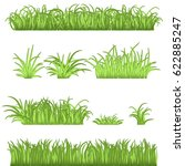 spring green grass borders set. ... | Shutterstock .eps vector #622885247