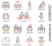 vector set of linear icons... | Shutterstock .eps vector #622885607