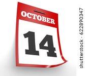 October 14. Calendar On White...
