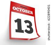 October 13. Calendar On White...