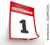 September 1. Calendar On White...