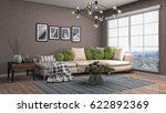 interior living room. 3d... | Shutterstock . vector #622892369