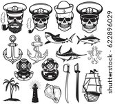 set of nautical elements.... | Shutterstock .eps vector #622896029