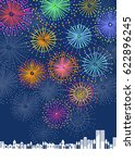 fireworks and town scape | Shutterstock .eps vector #622896245