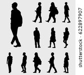black walk silhouettes | Shutterstock .eps vector #622897907