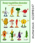 funny vegetables cartoon... | Shutterstock .eps vector #622898147