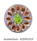 dozen oven baked oysters... | Shutterstock . vector #622901519