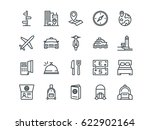 travel. set of outline vector... | Shutterstock .eps vector #622902164