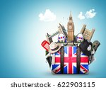 england  vintage suitcase with... | Shutterstock . vector #622903115